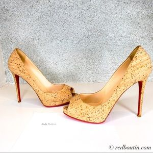 Christian Louboutin cork Peep Toe Pumps 42